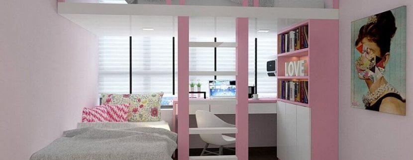 quarto-rosa-com-beliche-com-escrivaninha-embaixo